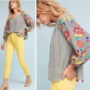 Embroidered Soleil Striped Peasant Blouse Floreat